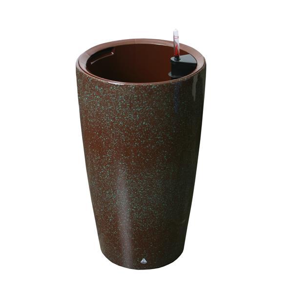 "Modena Round Self-Watering Planter - 22"" - Brown Granite"