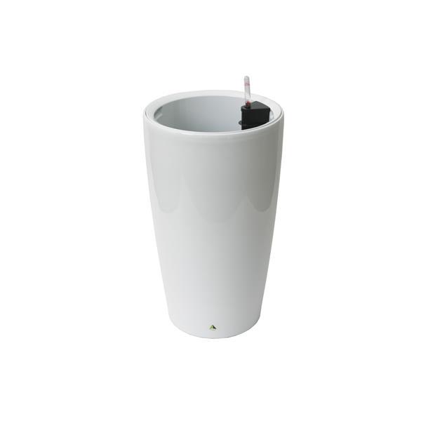 "Modena Round Self-Watering Planter - 22"" - Glossy White"