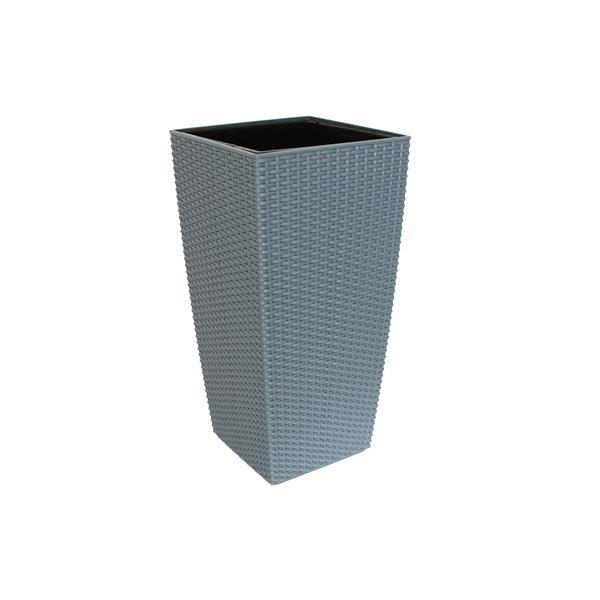 """Wicker Self-Watering Square Taper Planter -22"""" - Rattan Grey"""
