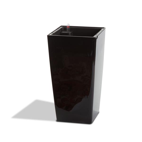 "Modena Square Taper Self-Watering Planter -30"" -Glossy Black"