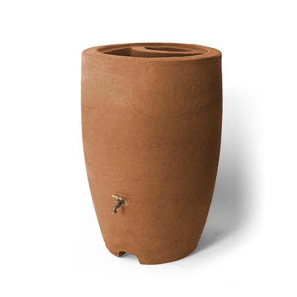 Baril de pluie décoratif Athena, 50 gallons, terre cuite