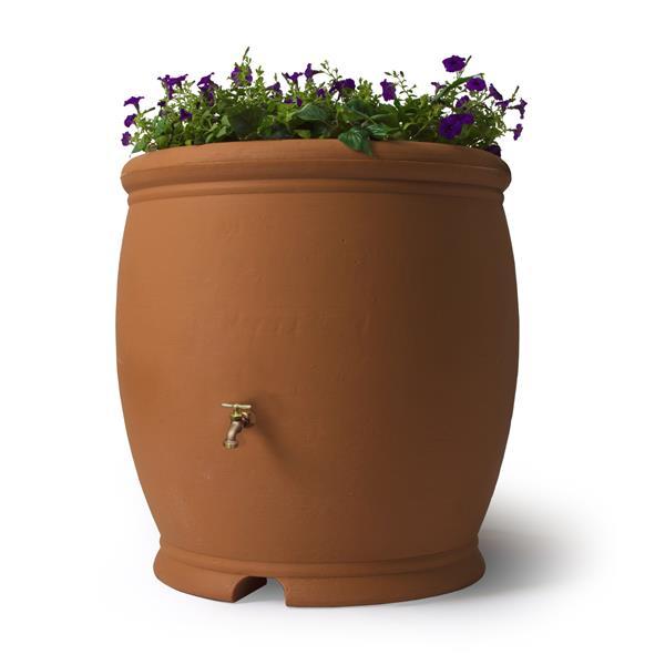 Baril de pluie décoratif Barcelona, 100 gallons, terre cuite