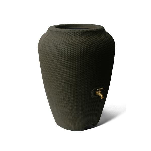 Algreen Wicker Rain Barrel - 50 Gallon - Brownstone