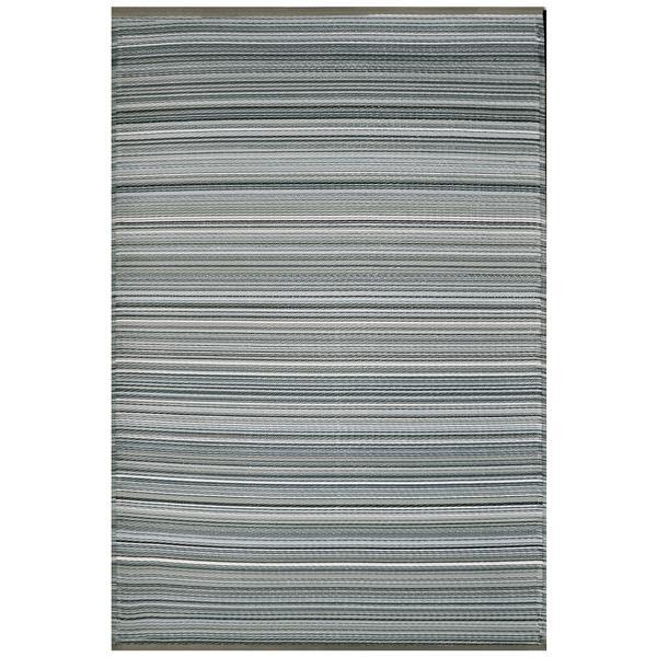 Erbanica Outdoor Plastic Grey Stripe Rug - 5' x 8'