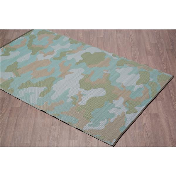 Tapis camouflage pour l'extérieur en plastique, Vert, 4'x6'