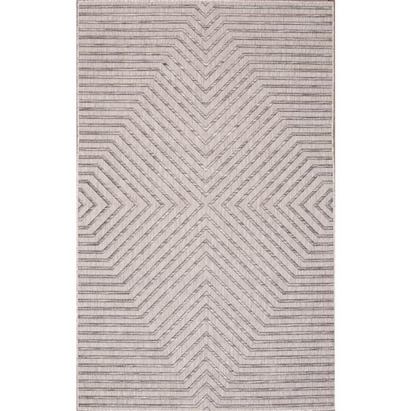 Erbanica Indoor-Outdoor Polypropylene Rug - Grey/Beige - 5' x 8'