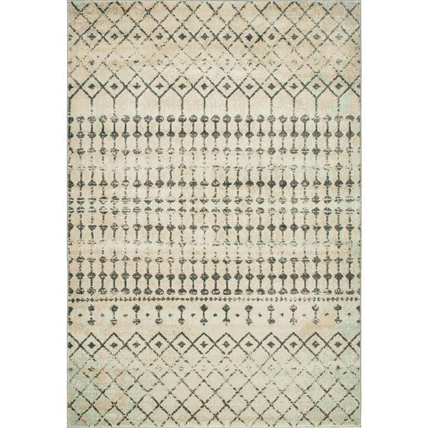 Erbanica Vintage Tribal Grey Aqua Soft Pile Rug - 8' x 10'
