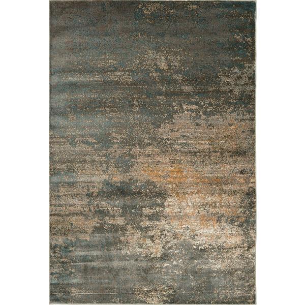 Erbanica Modern Abstract Grey Gold Soft Pile Rug - 8' x 10'