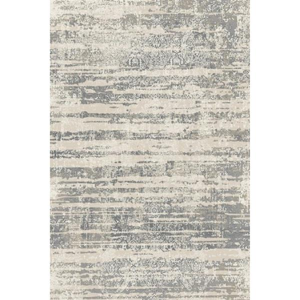 Erbanica Textured Polypropylene Silver Grey/Dark Grey Rug - 8 x 10'