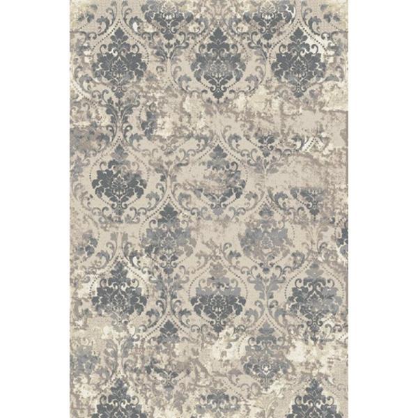 Erbanica Textured Polypropylene Beige Silver Dark Grey Rug - 5' x 8'