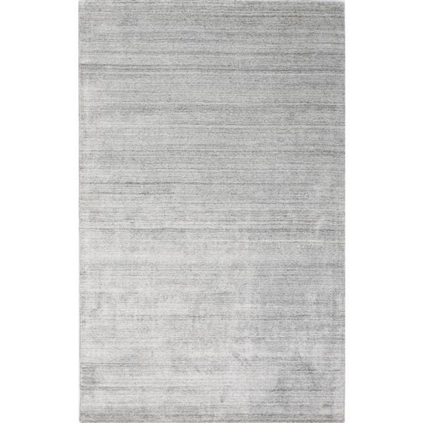 Erbanica Handmade Solid Wool Viscose Silver Rug - 5' x 8'