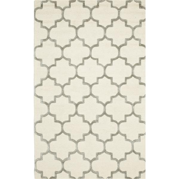 Erbanica Handmade Ivory Grey Modern Trellis Wool Viscose Rug - 5' x 8'