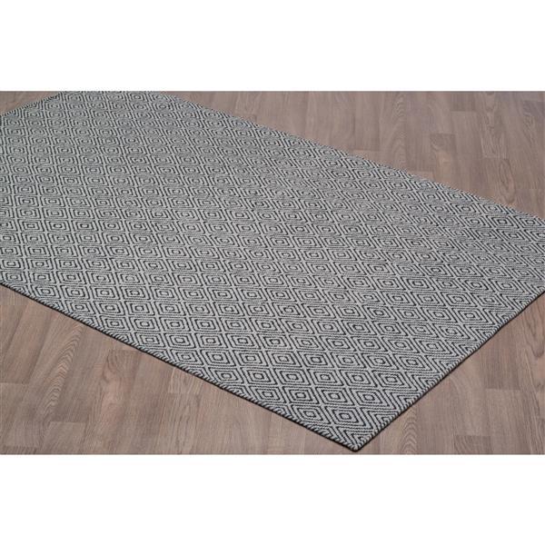 Erbanica Diamond Flat Weave Reversible Wool Rug - Grey/Black - 5' x 8'