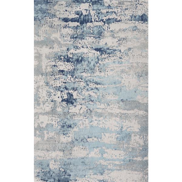 Erbanica Handmade Chenille Cotton Blue Abstract Rug - 5' x 8'