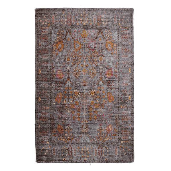Erbanica Handmade Chenille Cotton Grey Gold Abstract Rug - 5' x 8'