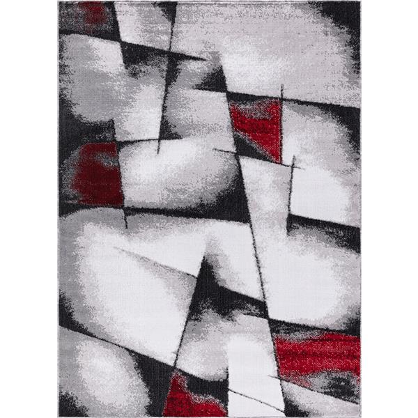 Segma Geored Area Rug - 2-ft x 3-ft - Polypropylene - Gray/Red