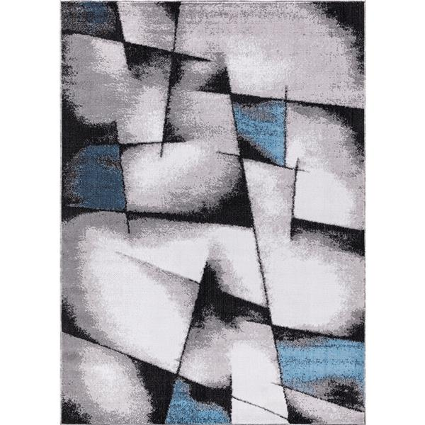 Segma Geoaqua Area Rug - 2-ft x 8-ft - Polypropylene - Gray/Blue