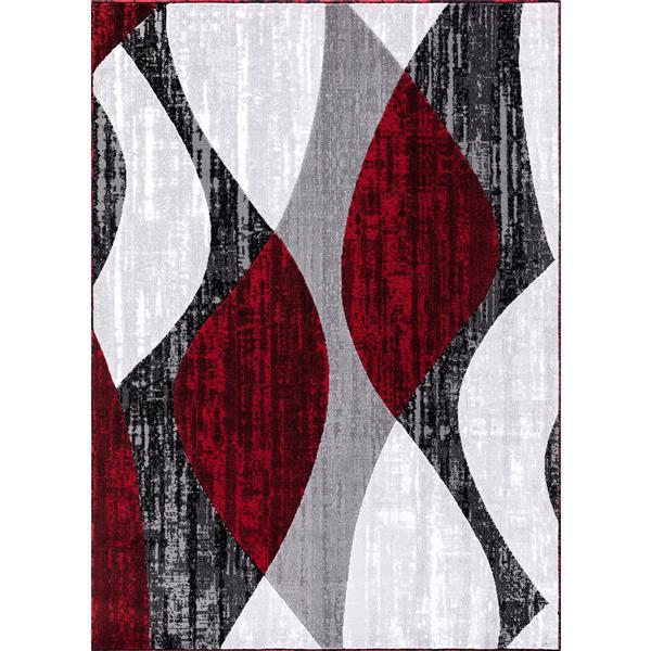Segma Whirlred Area Rug - 5-ft x 8-ft - Polypropylene - Gray/Red