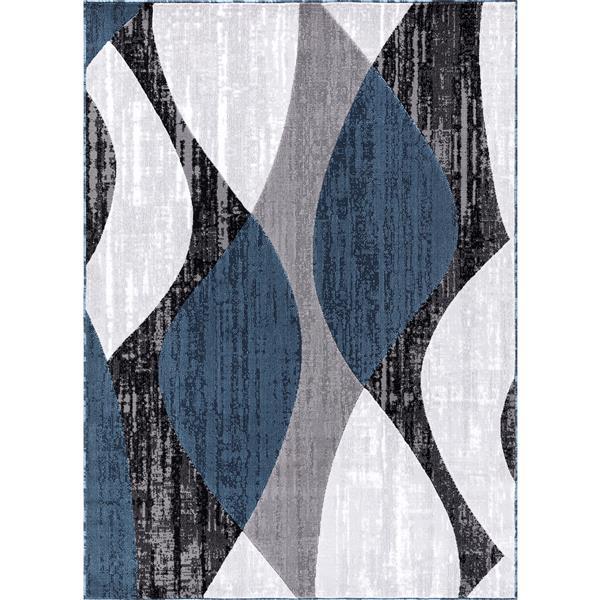 Tapis Whirlblue, 5' x 8', polypropylène, gris/bleu