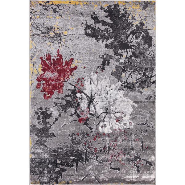 Segma Bella Area Rug - 8-ft x 11-ft - Polypropylene - Gray/Red