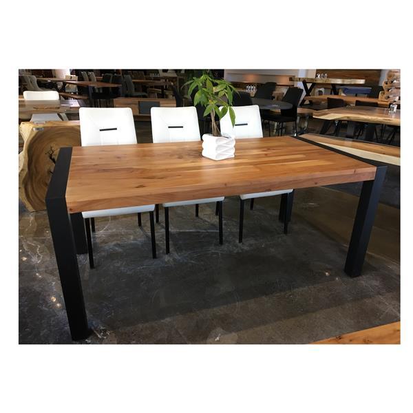 """Table en bois d'Acacia avec piètement noir, 70"""""""