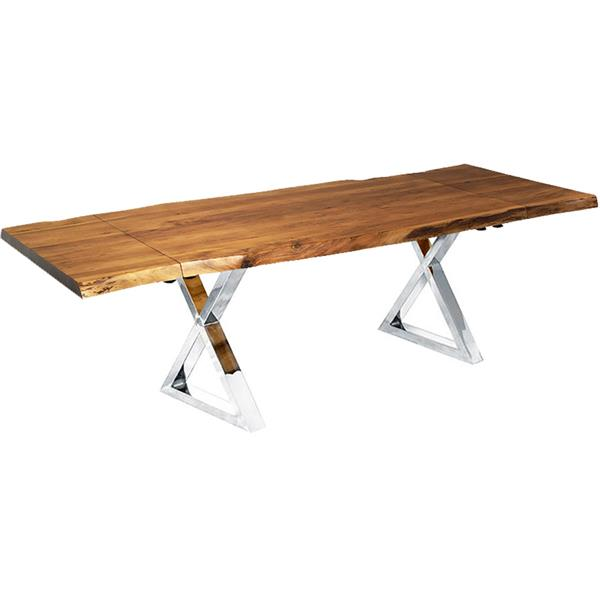 """Corcoran Extendable Acacia Live Edge Table with X-legs - 64""""(96"""")"""