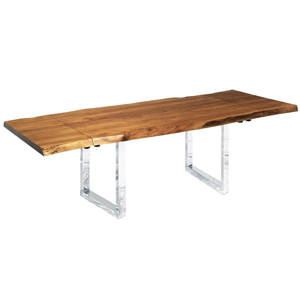 "Table extensible en bois d'acacia avec base en U, 64""(96"")"