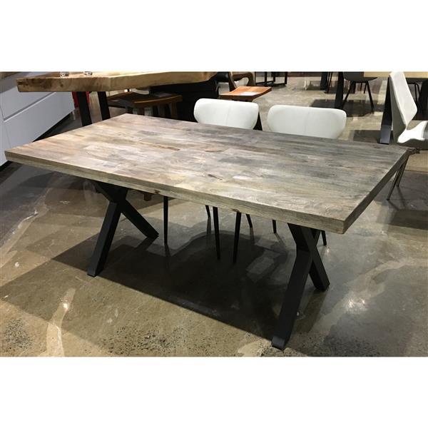 """Table en bois de Manguier sablé avec piètement en X, 70"""""""