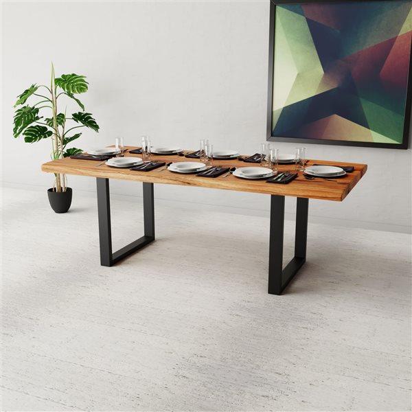 "Corcoran Acacia Live Edge Dining Table with Black U-legs - 84"""