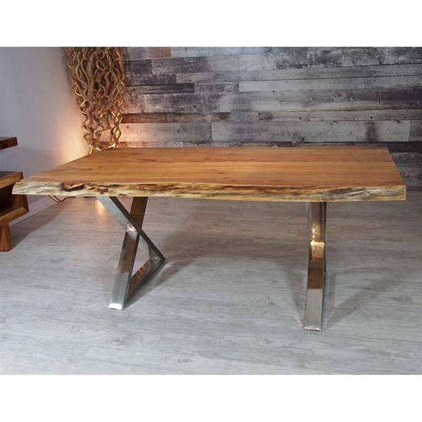 """Corcoran Acacia Live Edge Dining Table with Stainless X-legs - 72"""""""