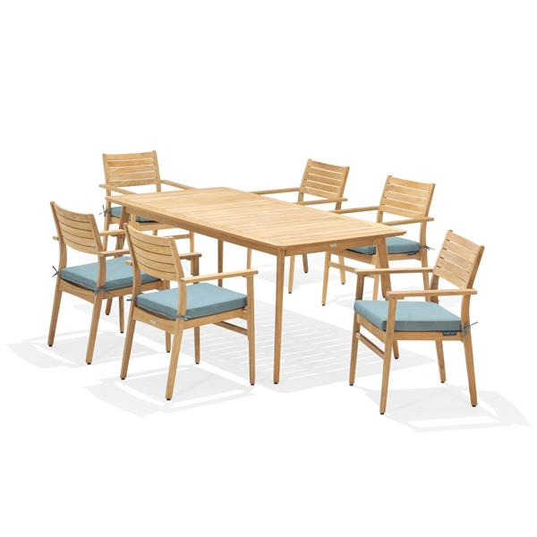 Scancom Eve Patio Dining Set - Wood - Emerald green - 7 pcs