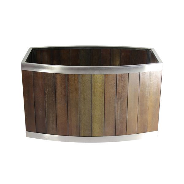 Leisure Season Oval Planter - 20-in x 12-in - Wood - Dark Brown