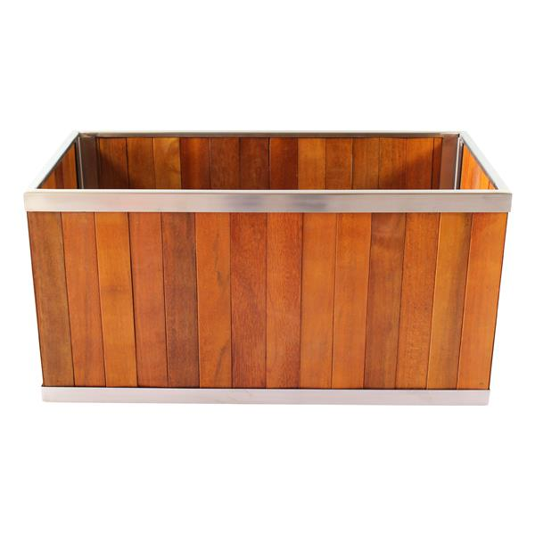 Leisure Season Rectangular Planter - 18-in x 18-in - Wood - Brown