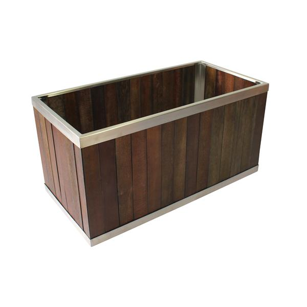 Leisure Season Rectangular Planter - 12-in x 12-in - Wood - Dark Brown