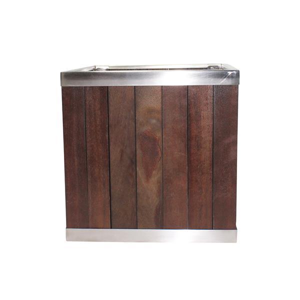 Leisure Season Square Planter - 10-in x 10-in - Wood - Dark Brown