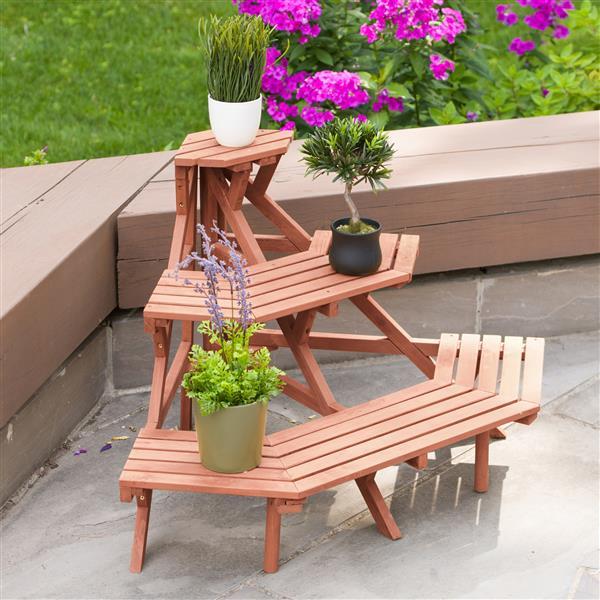 """Support à plantes à 3 niveaux, 38"""" x 24"""", bois, brun"""