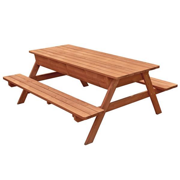 """Table de pique-nique avec rangement, 82"""" x 30"""", brun"""