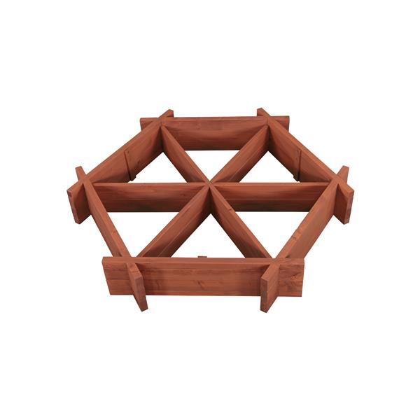Leisure Season Hexagonal Garden Bed - 48-in x 8-in - Cedar - Brown