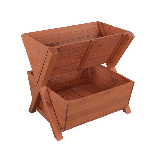 Leisure Season 2-Tier Planter Box - 31-in x 32-in - Cedar - Brown