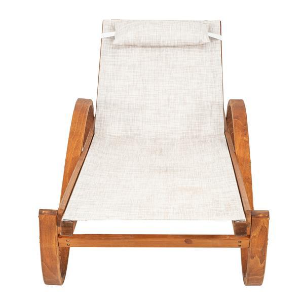Leisure Season Reclining Sling Chaise Lounge - 79'' x 27'' - Wood - Brown