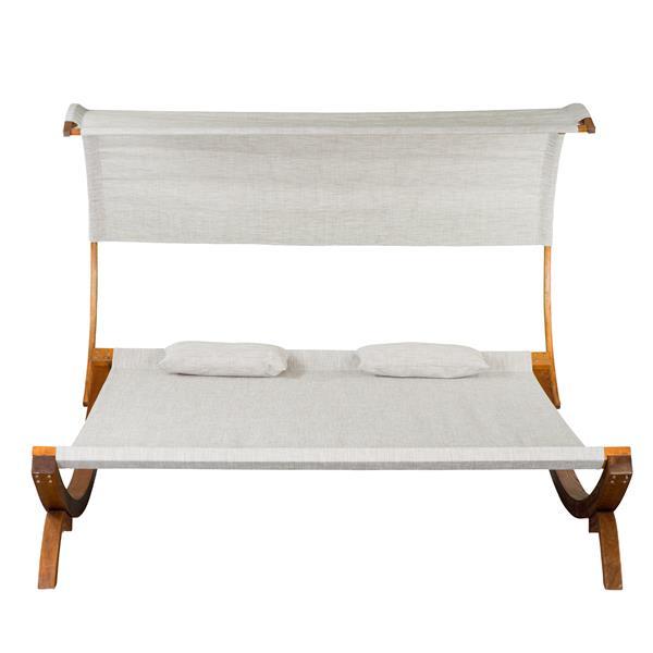 Leisure Season Sun Bed with Canopy - 78.74'' x 67'' - Olefin - Brown