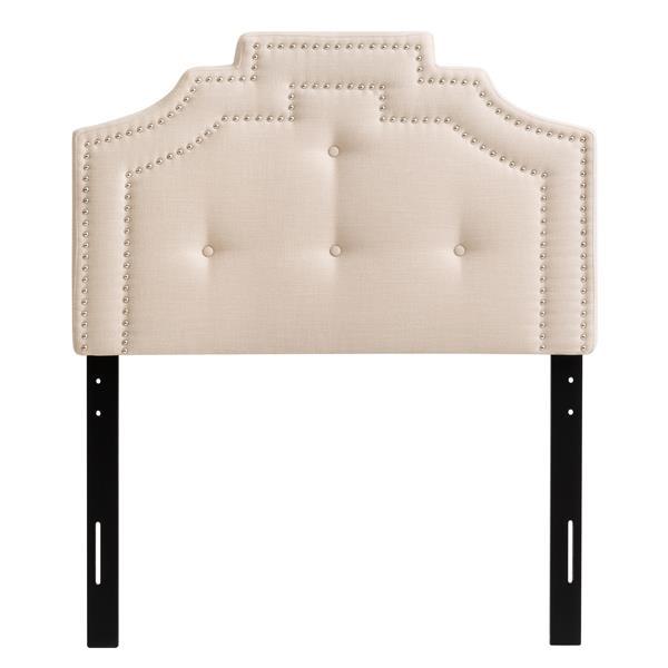Tête de lit style couronne capitonné, Crème, Simple