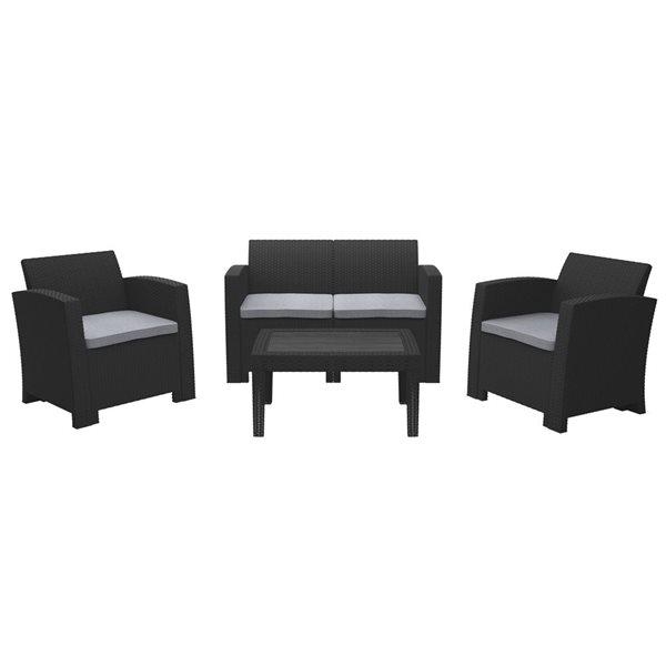 CorLiving All-Weather Conversation Set - Black/Grey - 4pc