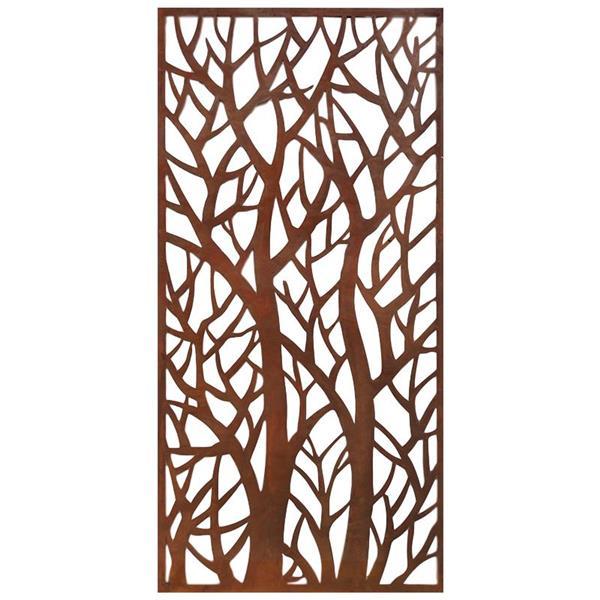 Écran de confidentialité/art mural Forest, aluminium, brun