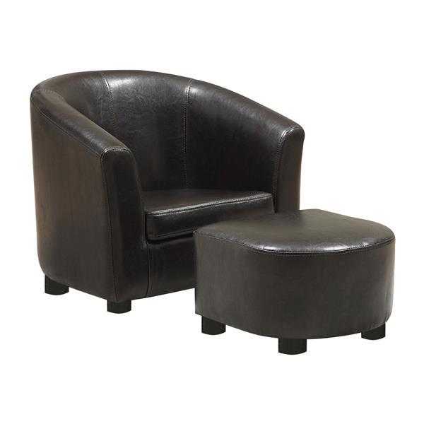 Monarch Kids Faux Leather Chair Set - 2 Pieces - Dark Brown