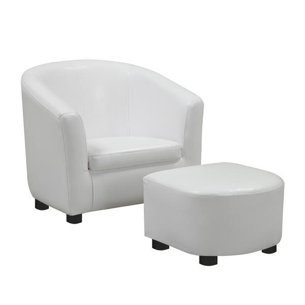 Monarch Kids Faux Leather Chair Set - 2 Pieces - White