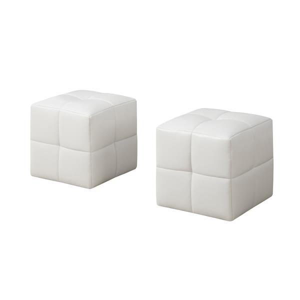 Ensemble de poufs en faux cuir pour enfants, 2 mcx, blanc