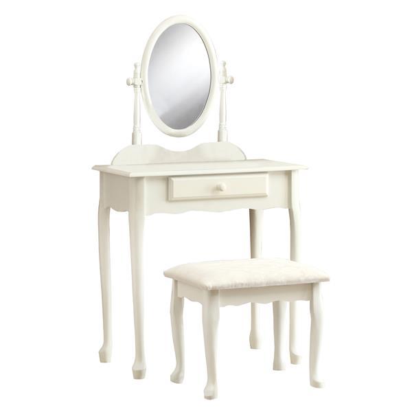 Ensemble de vanité 1 tiroir, 2 mcx, blanc antique