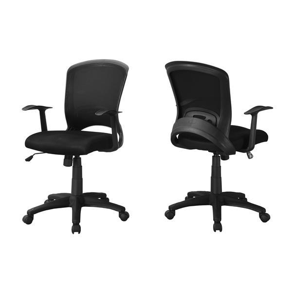 Chaise de bureau en filet contemporain, noir