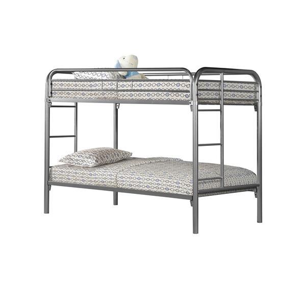 Monarch Bunk Bed - Twin - Silver/Metal